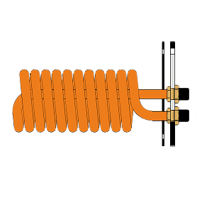 Flanged heat exchanger of ribber copper